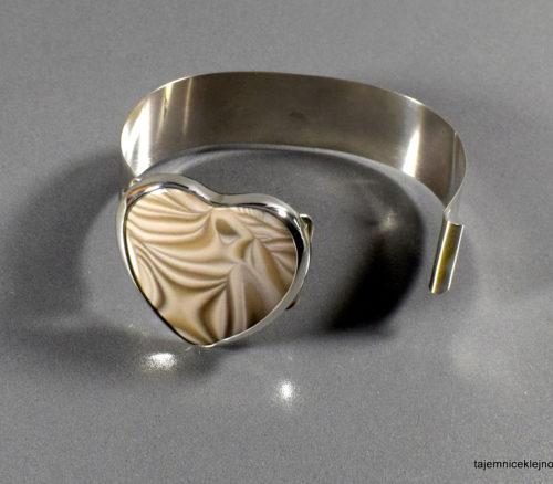 bransoleta srebrna z krzemieniem pasiastym serce
