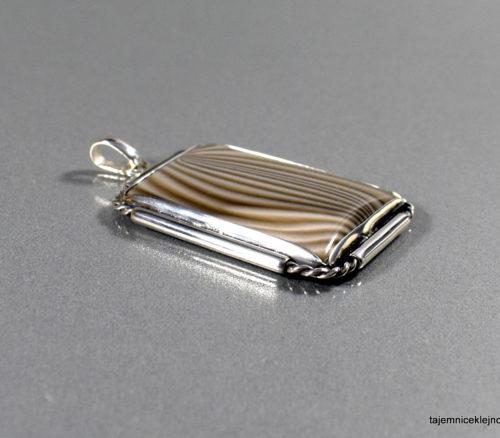wisior srebrny oksydowany krzemień pasiasty