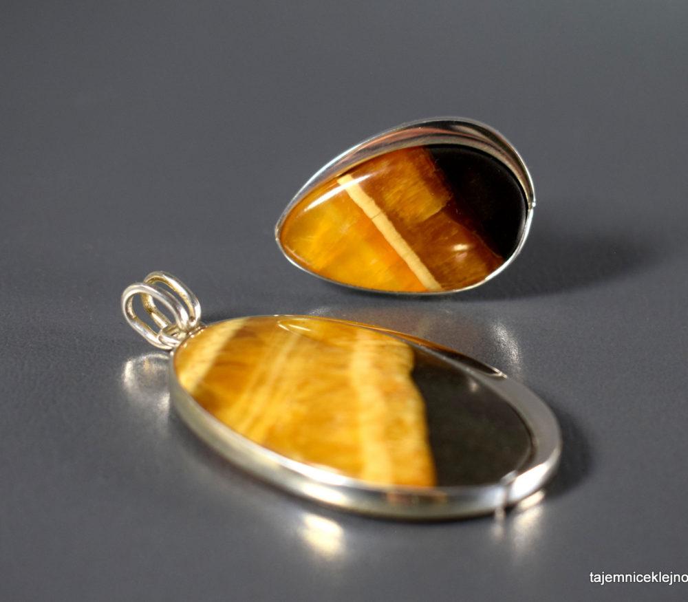 komplet srebrny z symbircytem, kalcytem