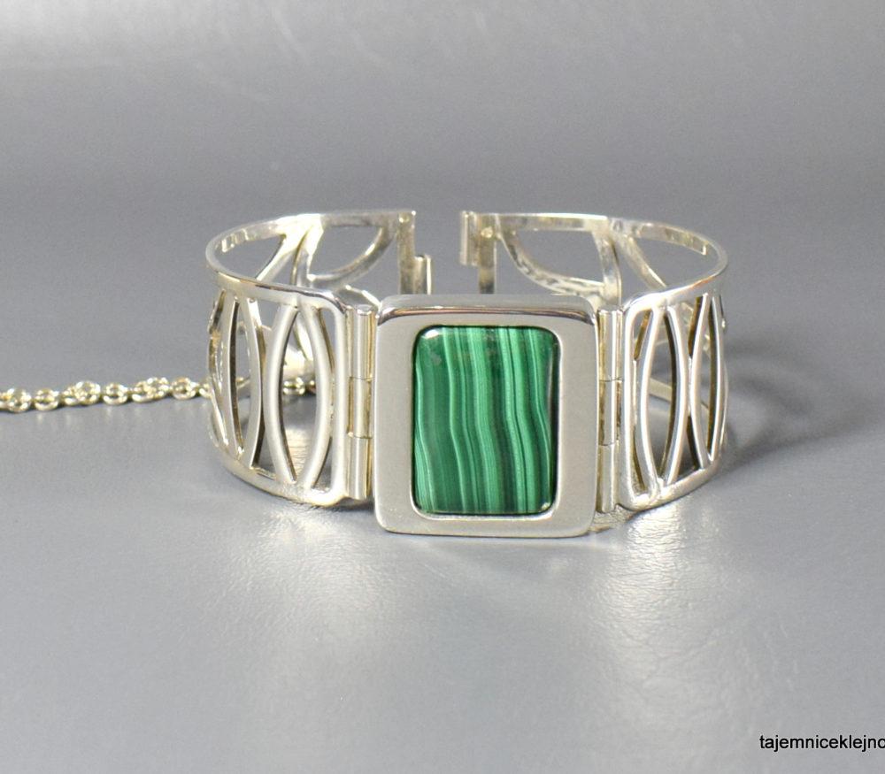 bransoleta srebrna z malachitem
