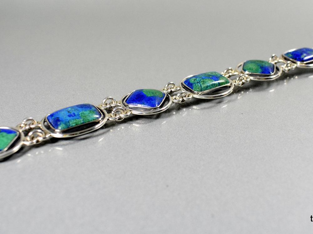 bransoleta srebrna z azurytami