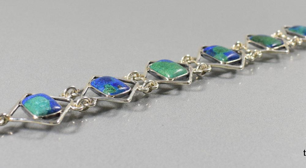 bransoleta srebrna z azurytem połączonym z malachitem