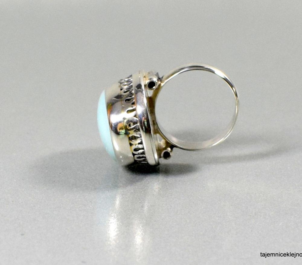 pierścionek srebrny z amazonitem