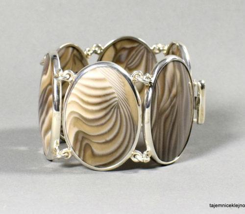 bransoleta srebrna z krzemienia pasiastego