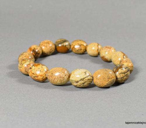 bransoleta z jaspisu krajobrazowego na gumce