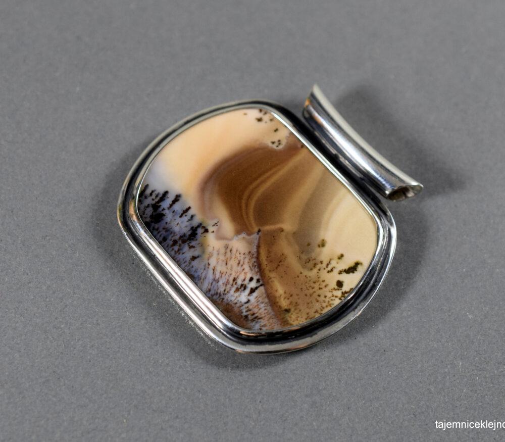 wisior srebrny z agatu dendrytowego