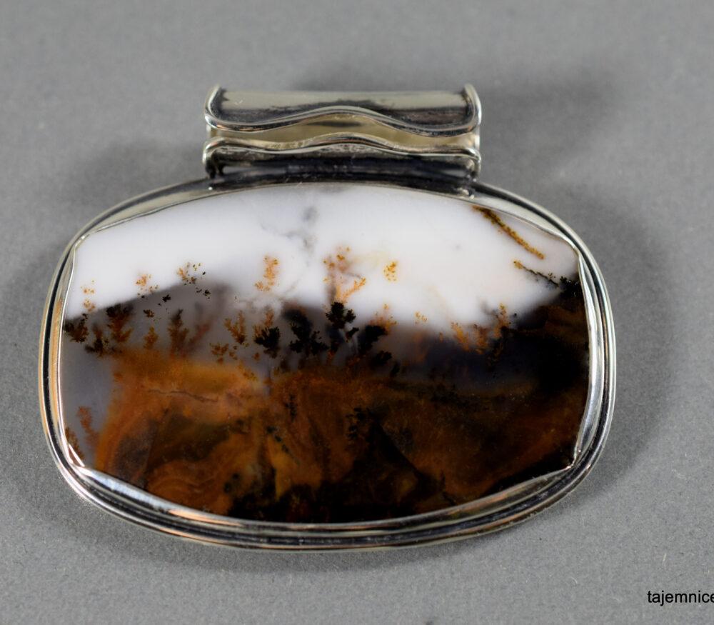 wisior srebrny z agatem mszystym