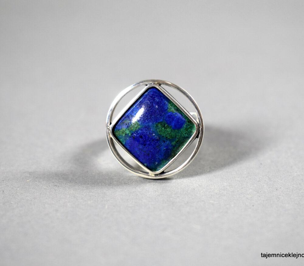 pierścionek srebrny z azurytem