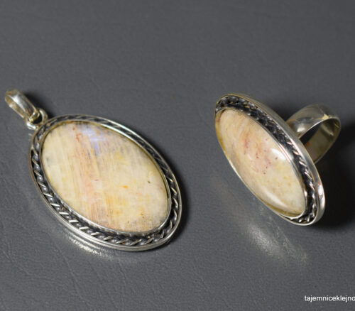 komplet srebrny z kamieniem księżycowym