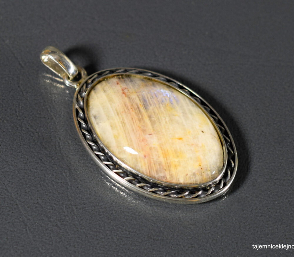 wisior srebrny z kamieniem księżycowym