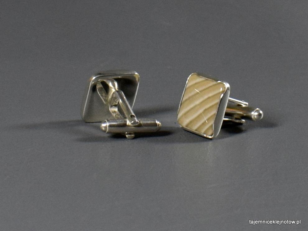 spinki srebrne z krzemieniem pasiastym