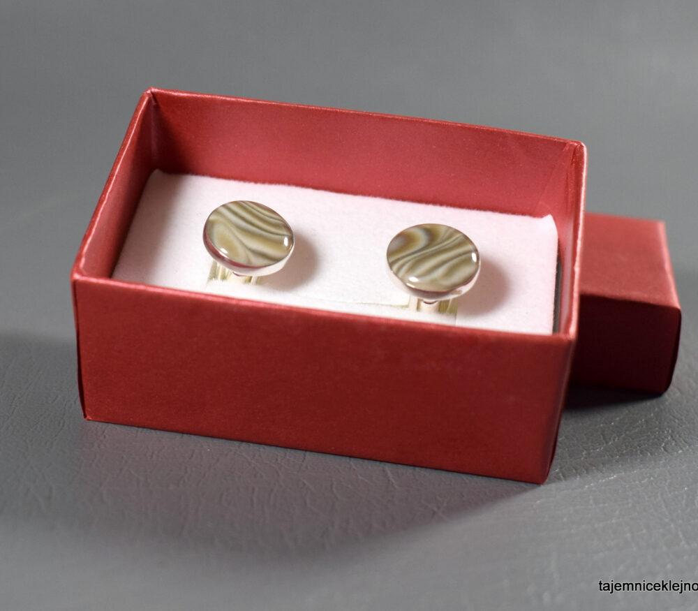spinki srebrne z krzemieniem pasiastym kółka