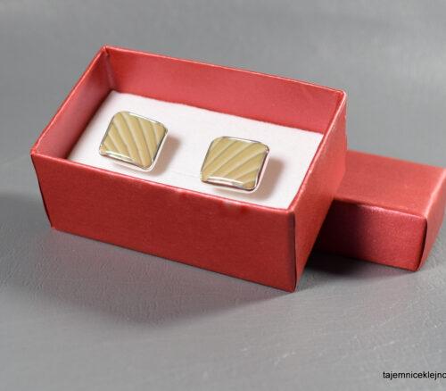 spinki srebrne z krzemieniem pasiastym kwadraty