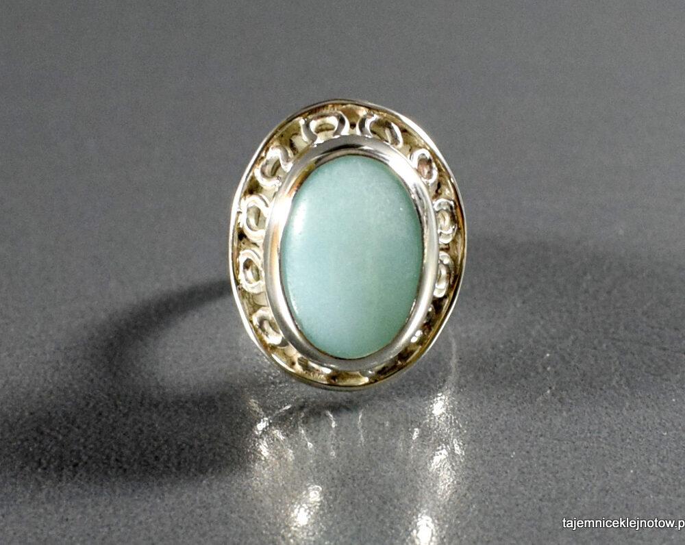 Pierścionek srebrny z amazonitem, handmade