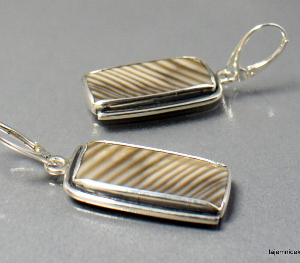 Kolczyki srebrne z krzemieniem pasiastym
