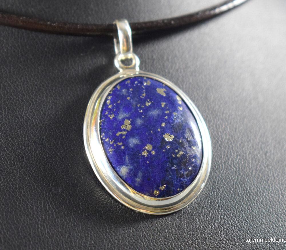 Wisior srebrny z lapisem lazuli, handmade