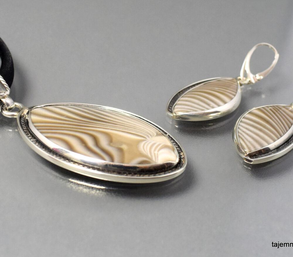 Komplet z krzemienia pasiastego w srebrze ŚWIĘTOKRZYSKIE RETRO
