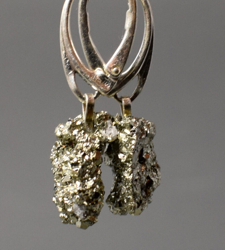 kolczyki srebrne z pirytem z Peru