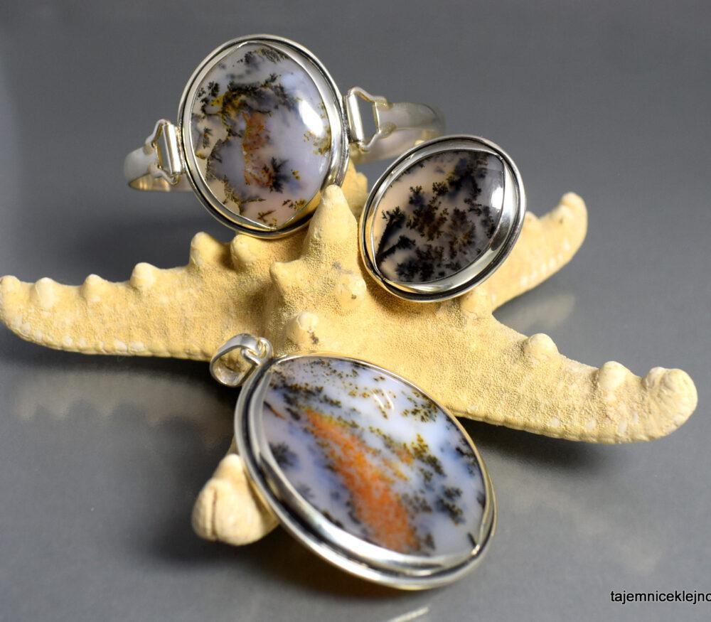 Agaty dendrytowe z Kazachstanu - komplet: bransoleta, pierścionek, wisior