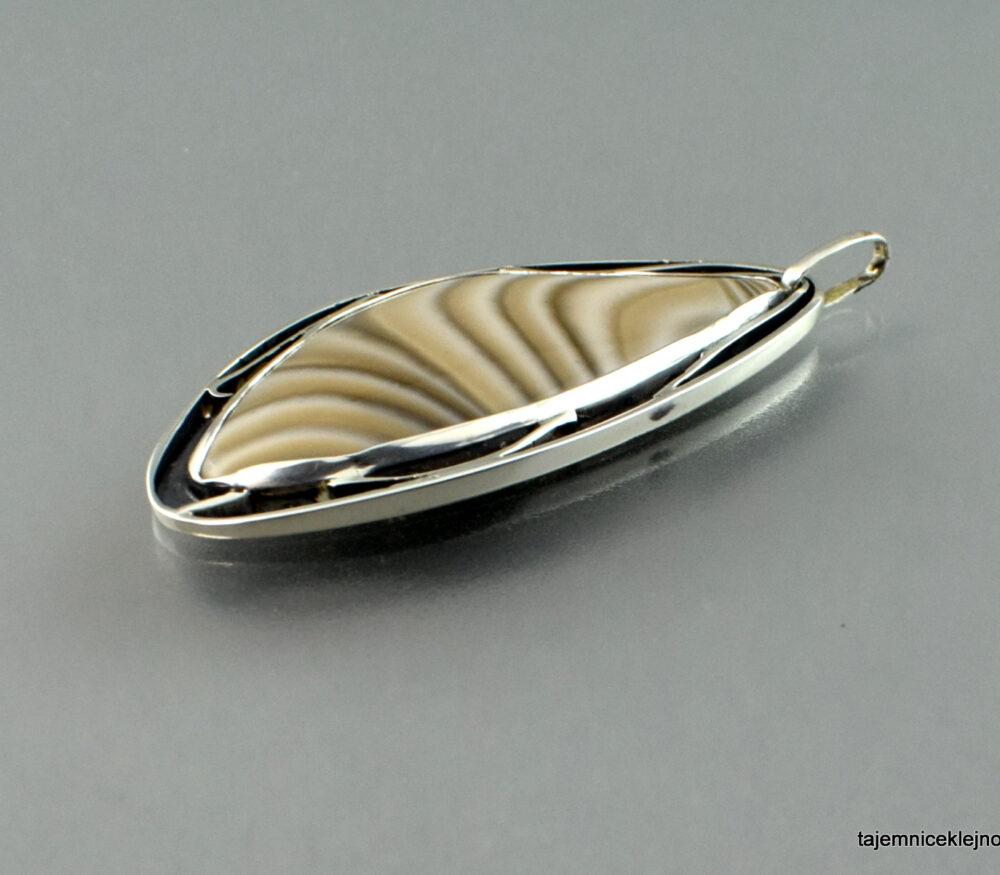 krzemień pasiasty, wisior, srebro, handmade