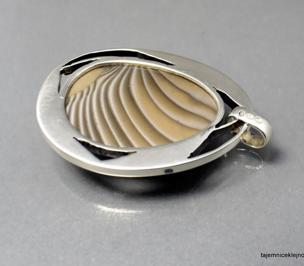 krzemień pasiasty, wisior srebrny