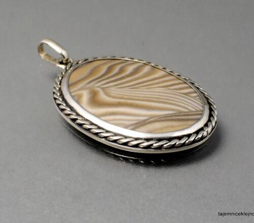 Krzemień pasiasty wisior srebrny STAROMODNY, biżuteria handmade