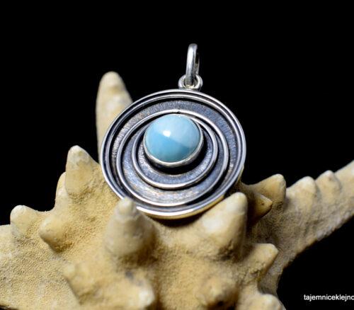 Wisiorek srebrny, oksydowany z larimarem,błękitne oko