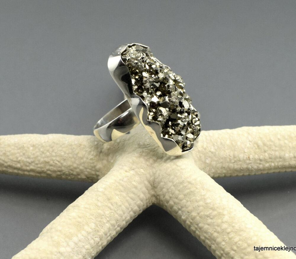 Pierścionek srebrny z pirytem z Peru