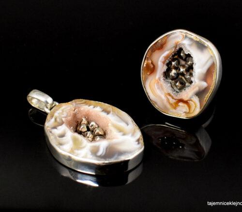 Komplet srebrny z agatem SREBRNE KRYSZTAŁKI