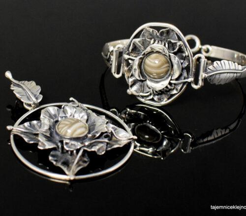 Komplet srebrny z krzemieniem pasiastym LIŚCIASTY